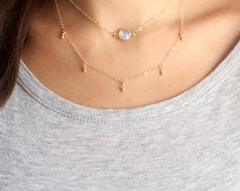 Tiny Ball Bead Fringe Layering Necklace - 14k Gold Filled | Sterling Silver