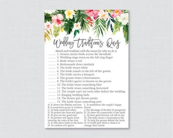 Tropical Wedding Traditions Quiz - Printable Hawaiian Floral Bridal Shower Game - Why Do We Do That Quiz, Luau Wedding Traditions Match 0032