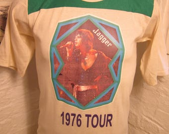 Size M (42) ** Old Sock Dated 1976 Mick Jagger / Rolling Stones Shirt (Single Sided) (Screen Stars) (Fully Licensed)