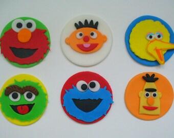 12 SESAME STREET Inspired Edible Fondant Cupcake Toppers Elmo Big Bird Cookie Oscar Bert Ernie