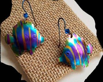 fish earrings , tropical jewelry, summer akoiccessories, niobium handmade earrings, hypoallergenic jewelry, rainbow color, nature earrings