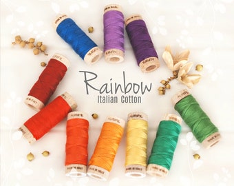 Embroidery Cotton Floss - Aurifil Cotton Floss - Aurifloss Embroidery Thread- Colorful Stitching Floss - 6 Strands - Rainbow Colors Thread