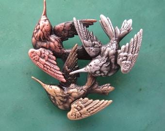 Hummingbird Brooch- Hummingbird Jewelry- Hummingbird Pin- mixed metal jewelry