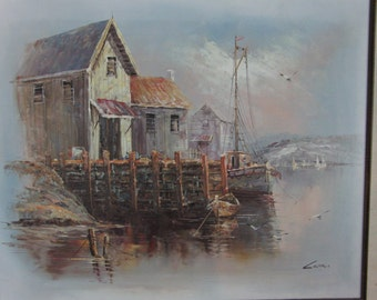 Vintage original oil on canvas painting of boat and house signed by the artist