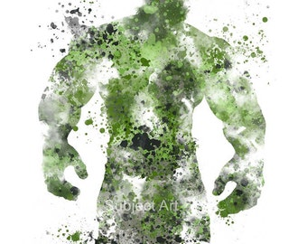 The Incredible Hulk ART PRINT illustration, Superhero, Home Decor, Wall Art, Marvel