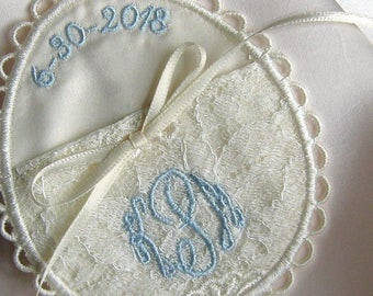 LACE WEDDING POCKET, Satin lining, holds a treasured keepsake inside your gown! Unique Egg Shaped Design, Ribbon Ties for Security, Monogram