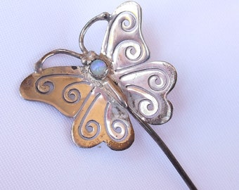 Opal Stick Pin in Sterling Silver, Antique Stick Pin Butterfly, Pierced Sterling and Opal Jewelry