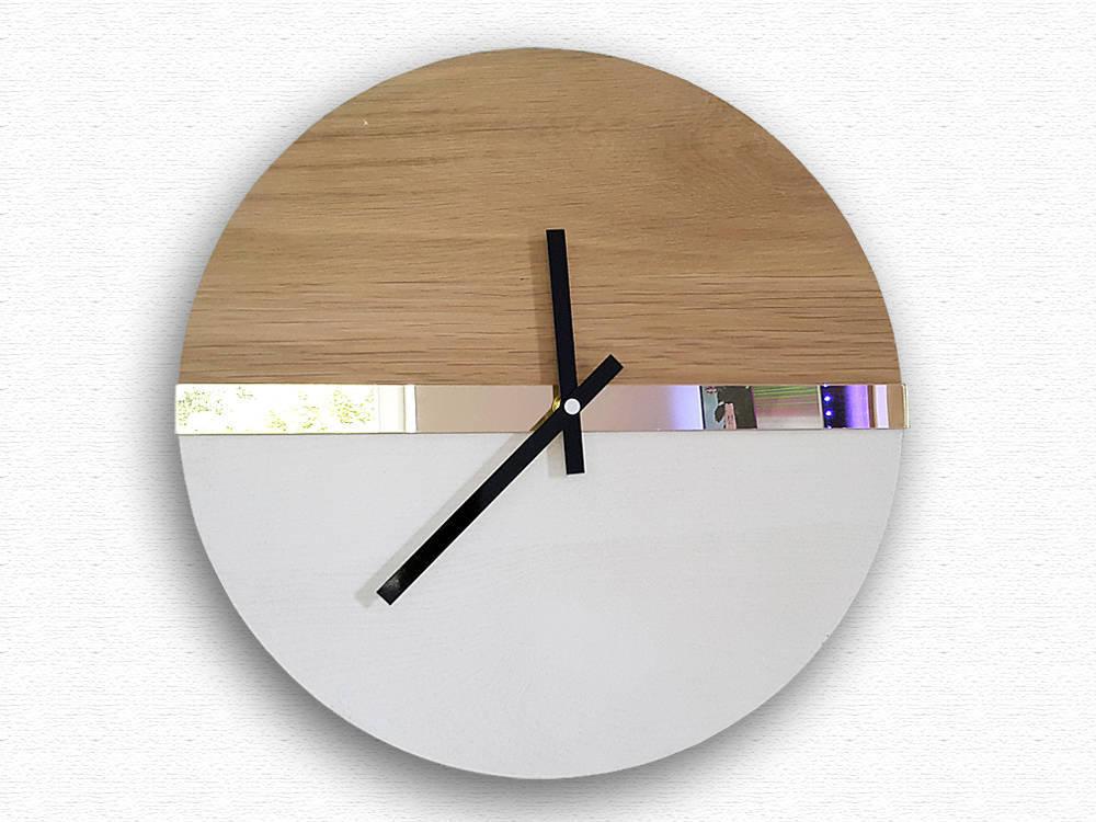 Large Wall Clock, Mirror Gold, 100% Natural Wood, Wood