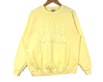 Vintage 90s OARSMAN 913 Grand Cayman Big Logo Spellout Embroidered Yellow Colour Sweatshirt Crewneck Hiphop Swag Streetwear Medium Size Gift