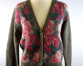 Gray and Pink Rose Floral Cardigan Sweater