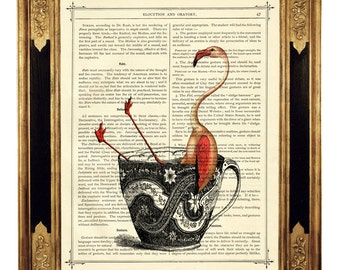 Pink Flamingo Art Print Tea Cup Bath Tea Party Dictionary Poster   - Vintage Victorian Book Page Art Print Steampunk