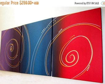 extra large wall art Original 3 panel abstract painting triptych canvas office home abstract paintings on hanging kunst 3 BIG SIZES