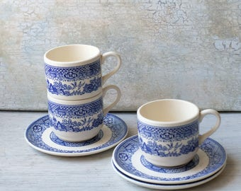 Set of 3 Blue Willow Teacup and Saucer Blue and White, Blue and White Asian Teacup and Saucer, English Tea Party,