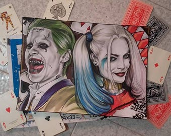 Paper Portrait of Joker & HarleyQuinn by Suicide Squad