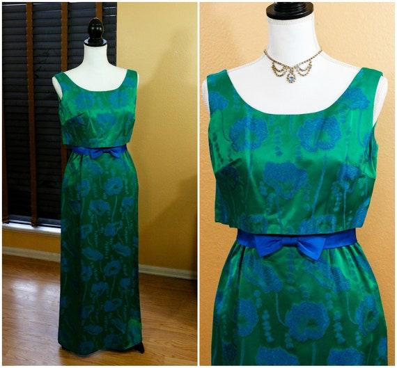 Emerald Green Brocade Column Evening Dress, Sleeveless Empire Waist, Blue Poppy Flowers Hand Made, XS Jackie Kennedy, Vintage 1960s Fashion
