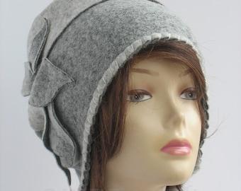 Winter hat small womens handmade beanie grey and white accessory gift winter beanie boho hat soft boho beanie  hat cosy medium size womens