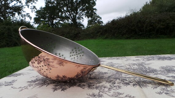 Sieve Vintage French Copper Pan BIG Vegetable Colander Sieve Brass Handle Rich Patina French Vintage Normandy Kitchen Tinned Copper Strainer
