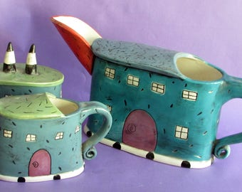Whimsical Teapot, Creamer and Sugar