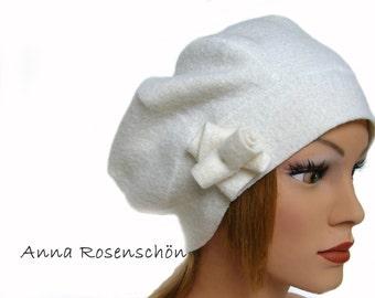 Beanie hat white wool creme ecru rose cap