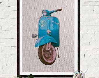 Vespa Poster - Retro print - Retro Wall Art - Scooter Print - Blue Vespa - Vintage Art - Italian Vespa - Printable Art - Instant Download