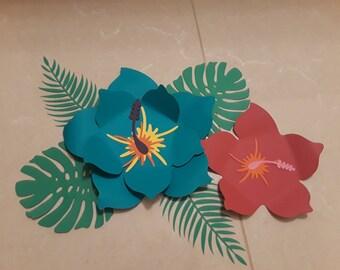 Paper hibiscus flowers