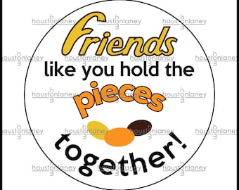 """Friends Thank You """"Pieces"""" -Themed Tag"""