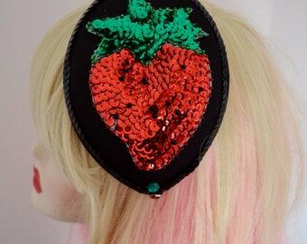 Pillbox Hat Fascinator Bibi Strawberry Fraise Sequins
