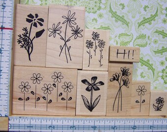 Flowers - Set of 9 Rubber Stamps - Endless Creations - Cardmaking - Paper crafting - Scrapbook