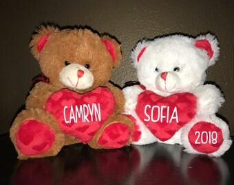 Personalized Valentines Bear - Plush Stuffed Animal - VDay Gift