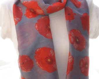 Grey poppy Scarf shawl, Beach Wrap, Cowl Scarf, grey poppy print scarf, cotton scarf, gifts for her