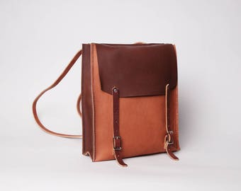 Leather Convertible Backpack & Tote | Tobacco Brown