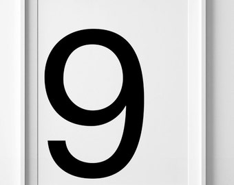 Digital print, wall art printable art, number print, number 9 poster, black and white art, scandinavian print, wall art print, home decor