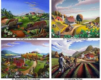 70% off any 12 prints, country print set, Bulk Order, wholesale farm print set, Volume Pricing art prints, folk art prints, Appalachian
