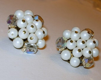 Vintage Faux Pearl and Aurora Borealis Clip On Earrings