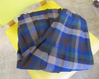 Women's Blue Plaid Wool Skirt Size 14