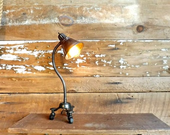 Industrial steampunk gooseneck lamp Desk lamp Accent light Boilerplate Industrial revolution Flexible table lamp