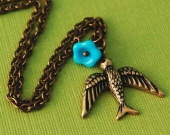 Bluebell Bird Necklace