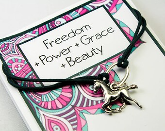 Wish Charm Bracelet - Horse Charm Bracelet - Friendship Bracelets - Corded Girls Bracelet INT021