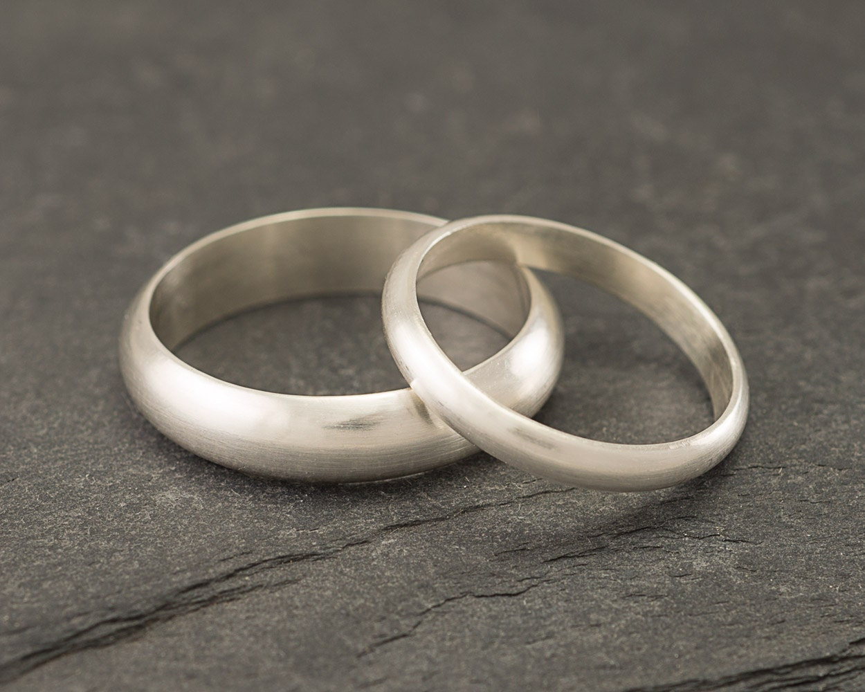 Wedding Band Set  Brushed Wedding Rings  Sterling Silver Wedding Bands  Wedding  Ring Set  Silver Ring Band  Brushed Wedding Band