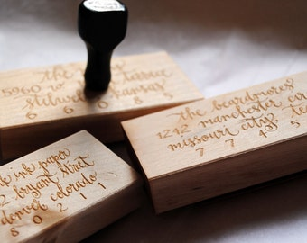 "Custom Calligraphy Address Stamp - All Calligraphy - 3"" x 1.5"""
