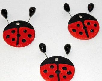 Handmade Ceramic Ladybug Tiles 4cm - Red Ladybug Ornament - Ceramic Decoration - Handpainted