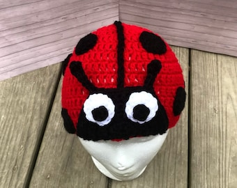 Crochet lady bug beanie hat