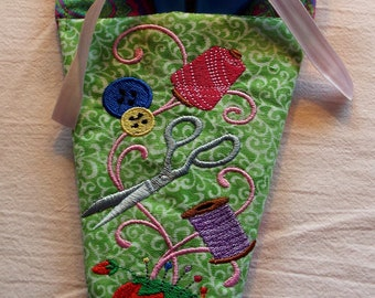 "X-Large Embroidered ""Sewing Notions"" Scissor Holder"