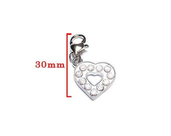 Rhinestone clip shaped heart and lobster heart clasp, silver tone size approx 30mm.