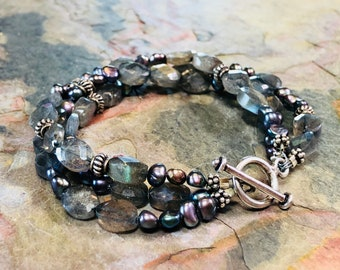 Riverbed Gems Triple-Strand Bracelet - Labradorite, Colorful Black Freshwater Pearls, And Sterling Silver - Intensely Iridescent