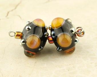 Lampwork Glass Bead Set, SRA Black with  Iridescent Dots