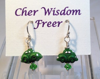 Green Volkswagen Beetle Earrings
