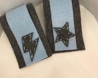 Superhero Cuffs - Customize and Personalize any colour - Grey/Light Blue