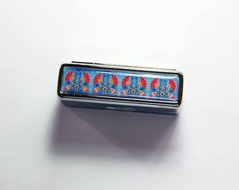 Art Deco Lipstick case, blue red lipstick case, Lipstick case with mirror, Lipstick holder, gift for her, stocking stuffer, blue, red (7618)