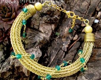 Brass bracelet viking knit bracelet wire woven bracelet wire wrapped bracelet Viking jewelry brass jewelry Trichinopoly chain